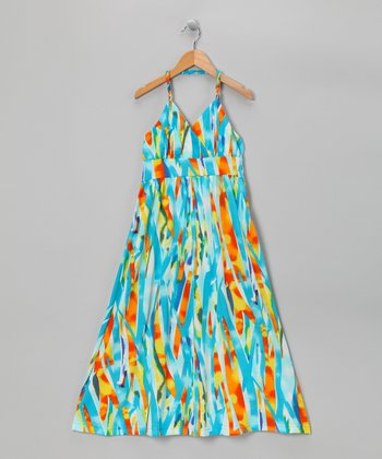Turquoise Triangle Halter Maxi Dress - Girls