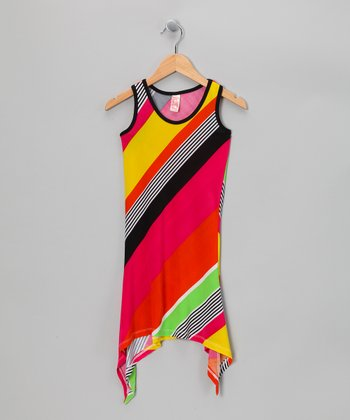 Orange Diagonal Stripe Sidetail Dress - Girls