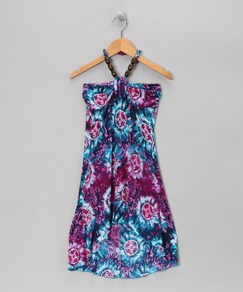 Turquoise Hi-Low Dress - Girls
