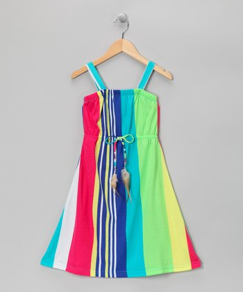 Lime Vertical Stripe Maxi Dress - Girls
