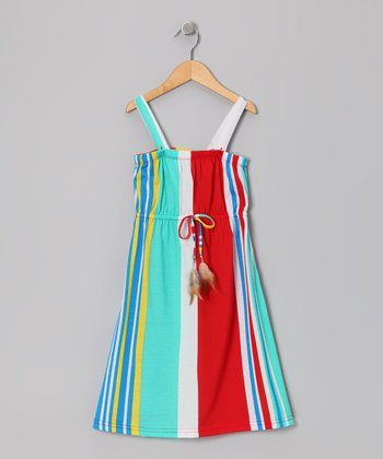 Red Vertical Stripe Maxi Dress - Girls