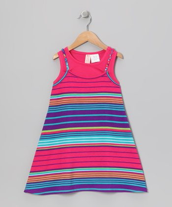 Fuchsia Stripe Layered Dress - Toddler & Girls