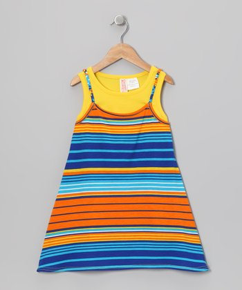 Yellow Stripe Layered Dress - Toddler & Girls