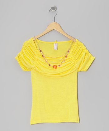 Lemon Light Ruched Top & Necklace - Girls