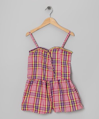 Pink Plaid Bubble Romper - Girls