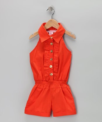 Orange Zinnia Romper