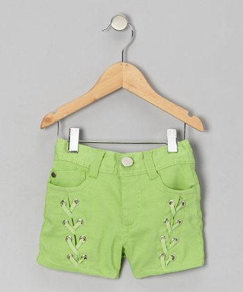 Pepper Lime Lace-Up Shorts - Girls