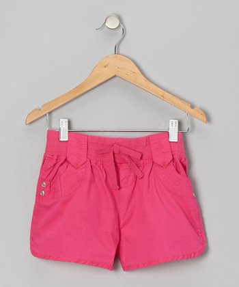 Pink Pulse Tie Shorts - Girls