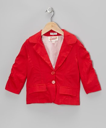 Red Ruched-Sleeve Jacket - Girls