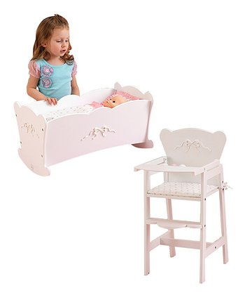 Tiffany Bow Cradle & High Chair Set