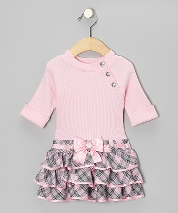 Pink & Gray Plaid Dress - Infant, Toddler & Girls