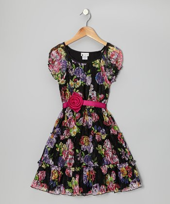 Black & Pink Rose Tiered Belted Dress - Girls