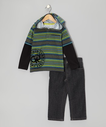 Blue Stripe Layered Hoodie & Jeans - Infant & Toddler