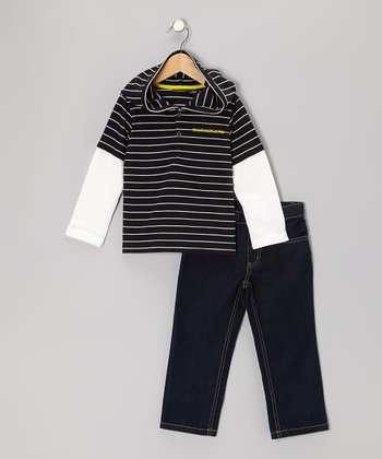 Navy Stripe Layered Hooded Tee & Jeans - Infant & Toddler