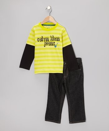 Yellow Stripe Layered Tee & Jeans - Toddler