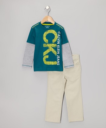 Blue Layered Tee & Khaki Pants - Infant & Boys