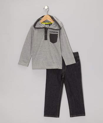 Gray Pocket Fleece Hooded Tee & Jeans - Infant & Boys