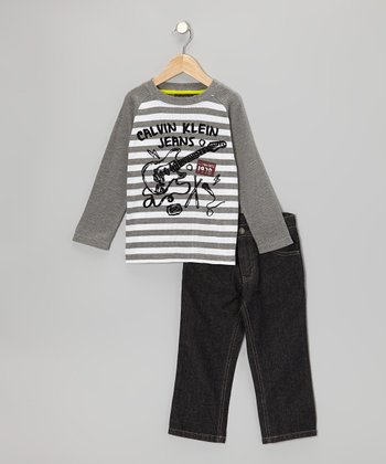Gray Rockstar Raglan Tee & Jeans - Infant & Toddler