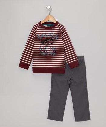 Maroon Stripe Top & Gray Pants - Toddler