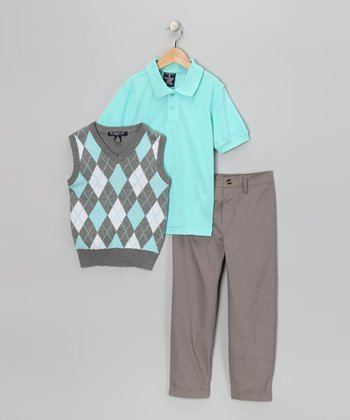 Teal & Gray Argyle Polo Set - Boys