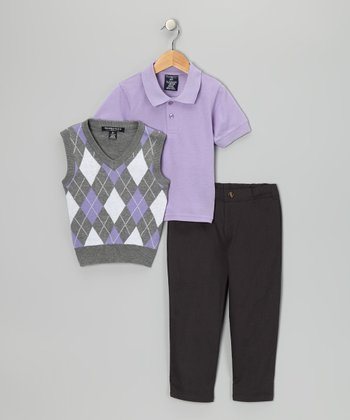 Lavender & Charcoal Argyle Polo Set - Boys