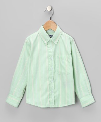 Green Stripe Button-Up - Toddler & Boys