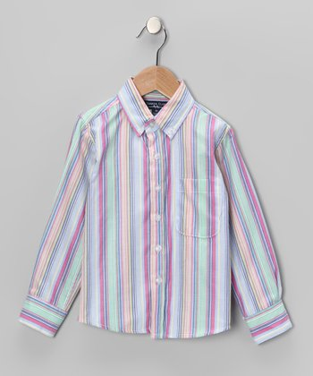 Purple & Green Stripe Button-Up - Toddler