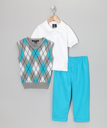 White & Aqua Argyle Vest Set - Toddler & Boys