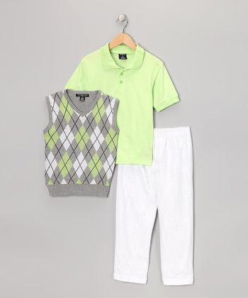 Lime & White Argyle Vest Set - Boys