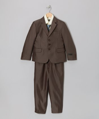 Brown & Mellow Yellow Five-Piece Suit Set - Toddler & Boys