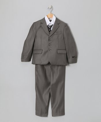 Dark Gray Five-Piece Suit Set - Toddler & Boys