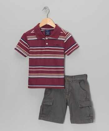 Burgundy Stripe Polo & Cargo Shorts - Boys