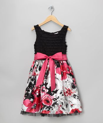 Black & Pink Rose Dress - Girls' Plus