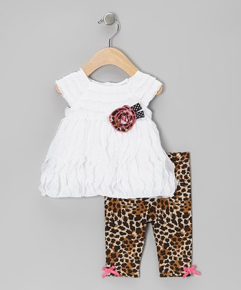 White Ruffle Wave Tunic & Leopard Leggings - Toddler & Girls
