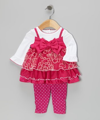 White & Pink Bow Layered Dress & Leggings - Infant