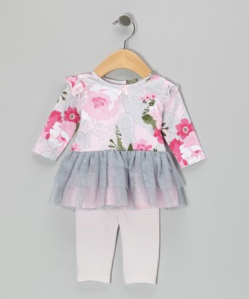 Pink & Gray Paisley Dress & Leggings - Infant