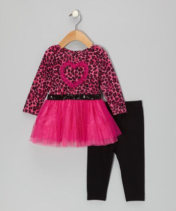 Pink & Black Leopard Heart Tunic & Leggings - Infant