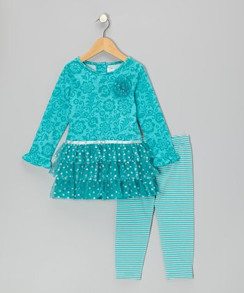 Teal Floral Glitter Dress & Leggings - Infant & Toddler