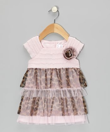 Pink & Brown Leopard Tiered Ruffle Dress - Infant