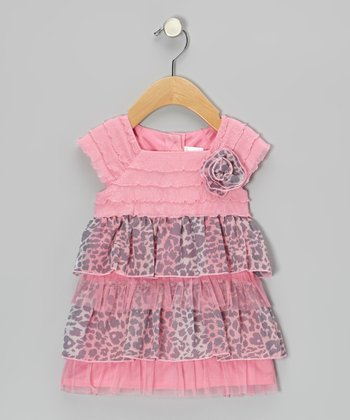 Pink & Gray Leopard Tiered Ruffle Dress - Infant