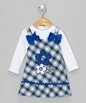 White Tee & Blue Daisy Plaid Dress - Toddler & Girls