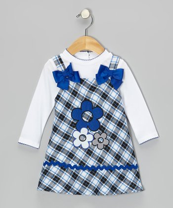 White Top & Blue Daisy Plaid Dress - Toddler & Girls