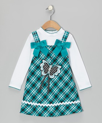 White Tee & Teal Butterfly Plaid Dress - Toddler & Girls