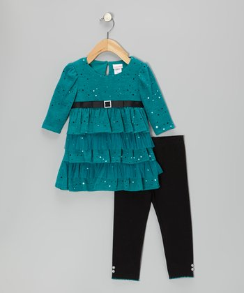 Teal Sparkle Ruffle Dress & Leggings - Infant