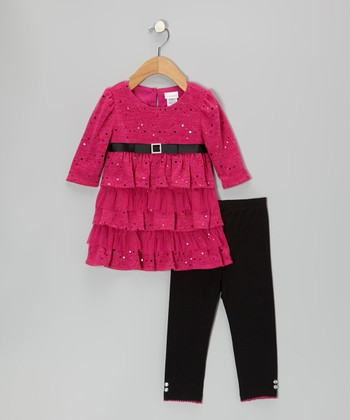 Pink Sparkle Ruffle Dress & Leggings - Infant