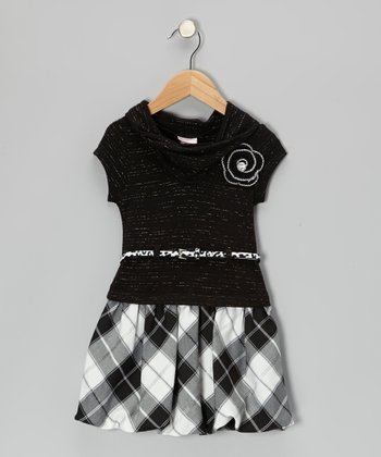 Black & White Plaid Dress - Toddler & Girls
