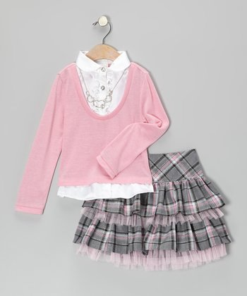 Pink Layered Top & Gray Plaid Skirt - Girls