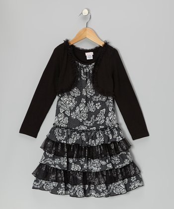 Black & White Layered Rose Dress - Girls