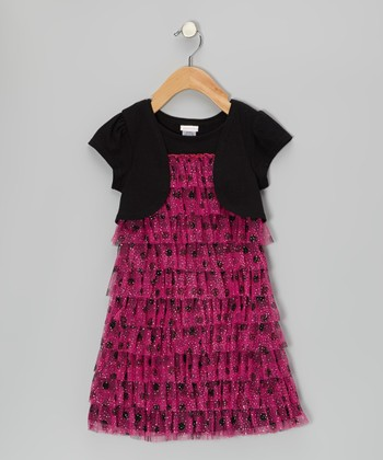 Pink & Black Glitter Polka Dot Layered Dress - Girls