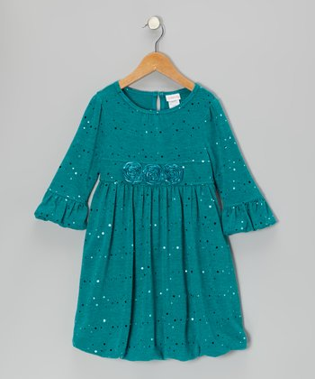 Teal Sparkle Rosette Bubble Dress - Girls
